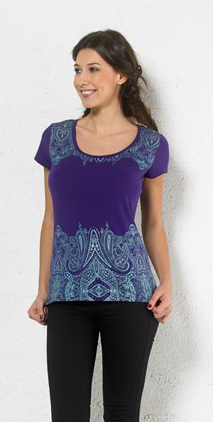 Tshirt blauwpaars met oriental print in turqoise