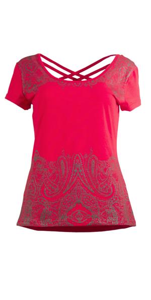 Tshirt diep rood met oriental print in grijs