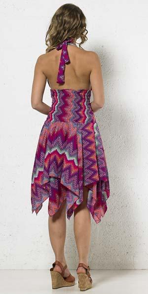 Zwierig jurkje met punten polyester fuchsia print