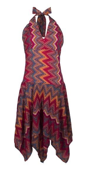 Zwierig jurkje met punten polyester rode print