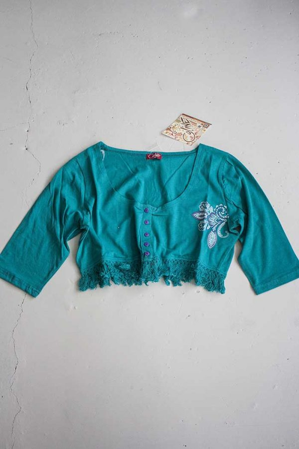 bolero van t shirt stof en franjes groen
