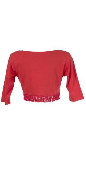 bolero van t shirt stof en franjes koraal rood