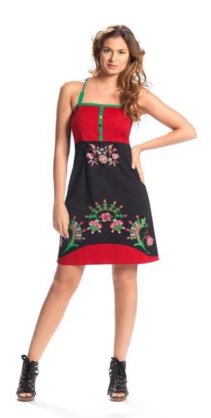 jurkje zwart rood met bloemetjes tricot