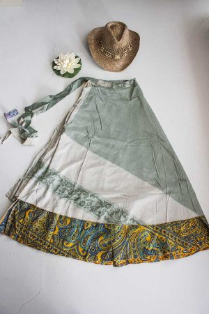 Gypsy sari India magische wikkelrok grijsgroen oranje en turqoise