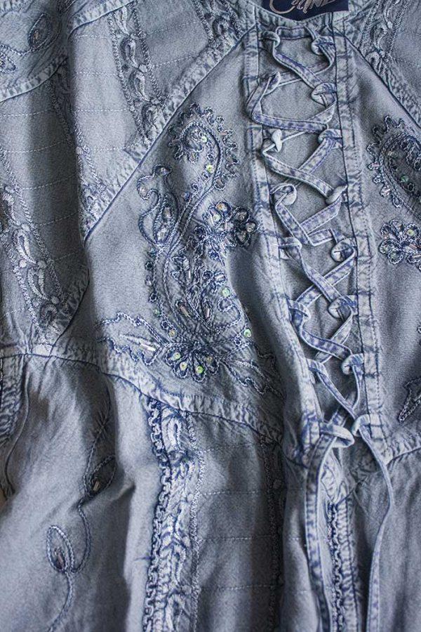 Halflange jurk zilverblauw met embroidery India