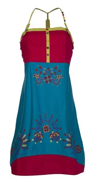 Jurkje turqoise rood met bloemetjes tricot