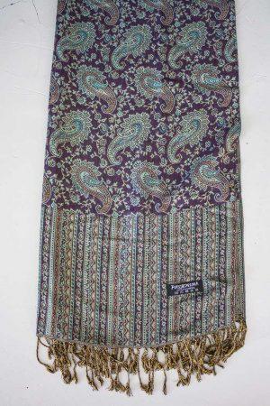 Pashmina sjaal met franjes aubergine bruin met turqoise