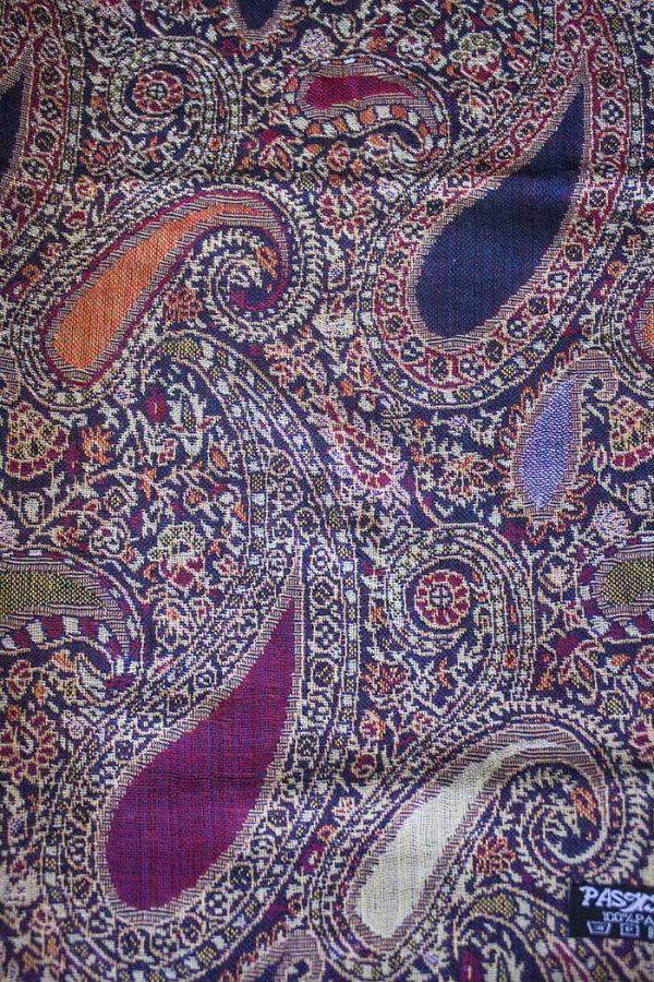 Pashmina sjaal met franjes donker aubergine met fuchsia en oranje