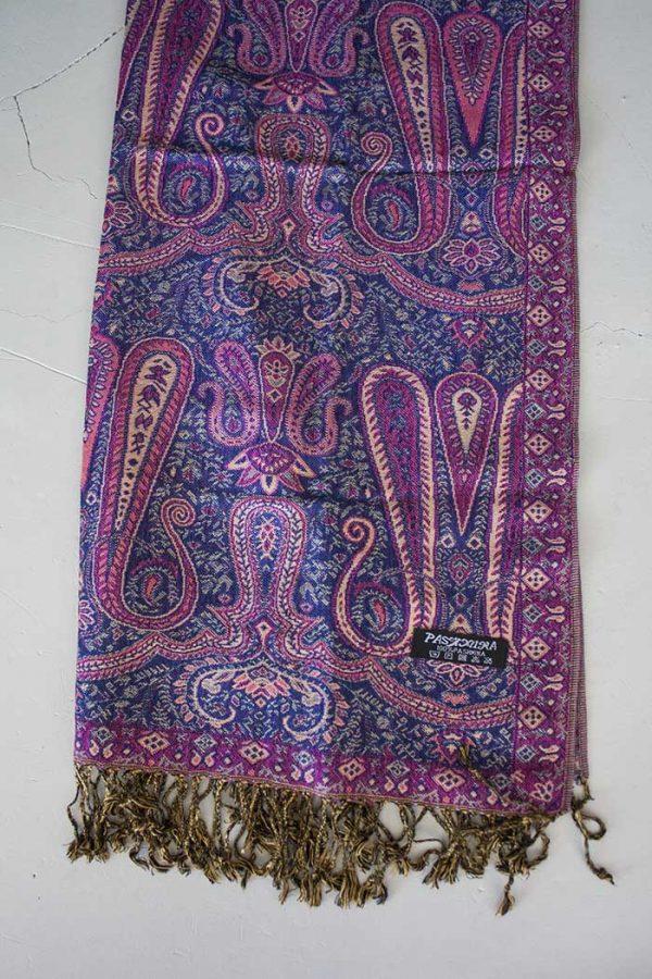 Pashmina sjaal met franjes paars met roze
