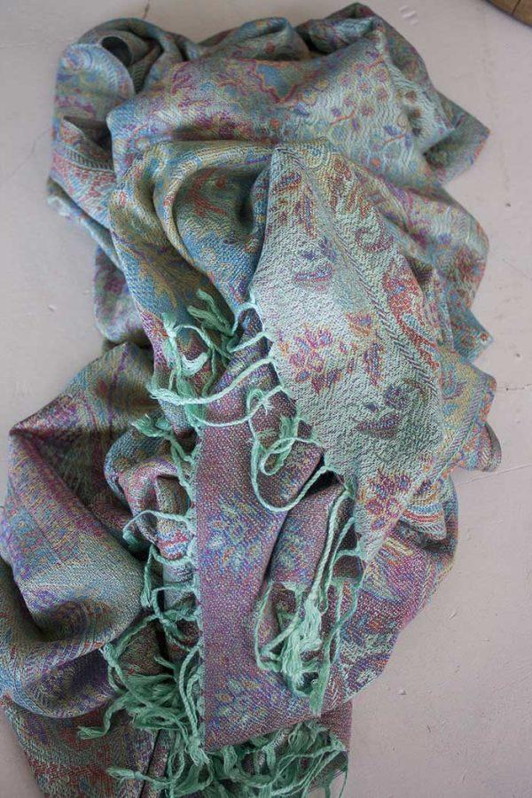 Pashmina sjaal met franjes zacht mint met turqoise