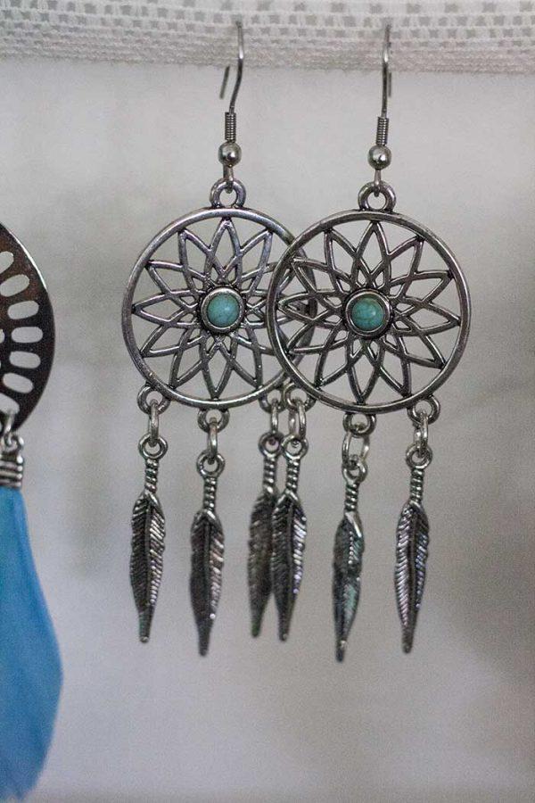 oorbellen dromenvanger met steen en zilveren veertjes