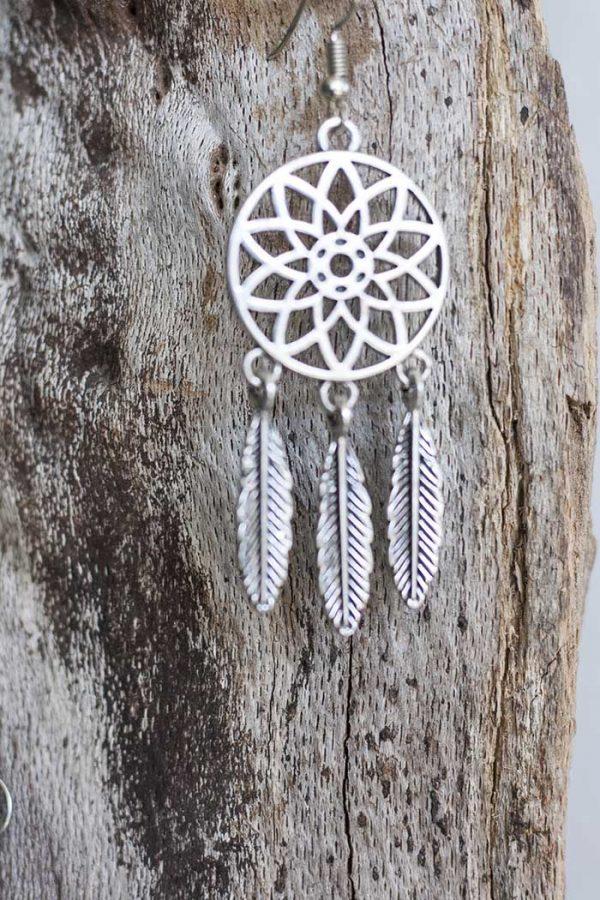oorbellen dromenvanger zonder steen en zilveren veertjes