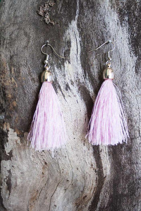 oorbellen kwasten licht roze