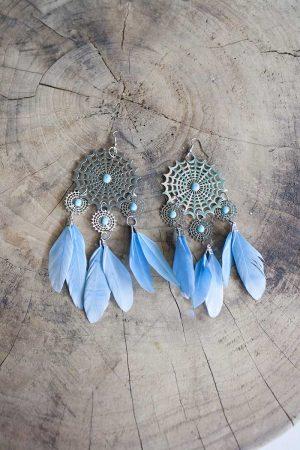 zilveren mandala met blauwe veertjes