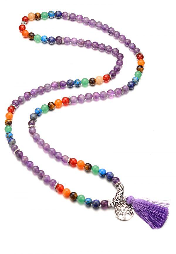Boho mala ketting  kralen amethist kralen en regenboog natuursteen met kwast en tree of life