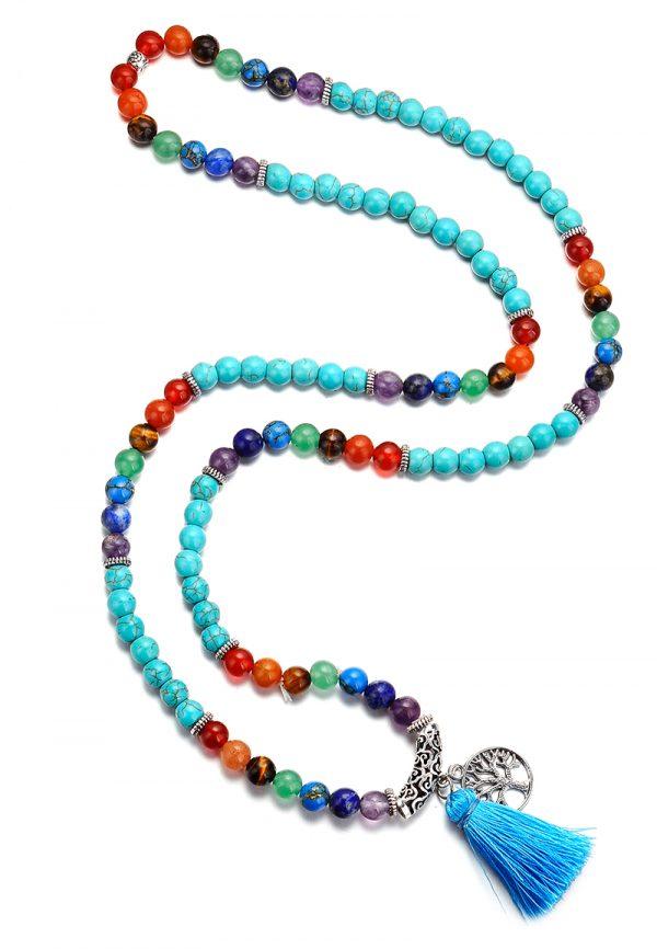 Boho mala ketting  kralen turqoise howliet kralen en regenboog natuursteen met kwast