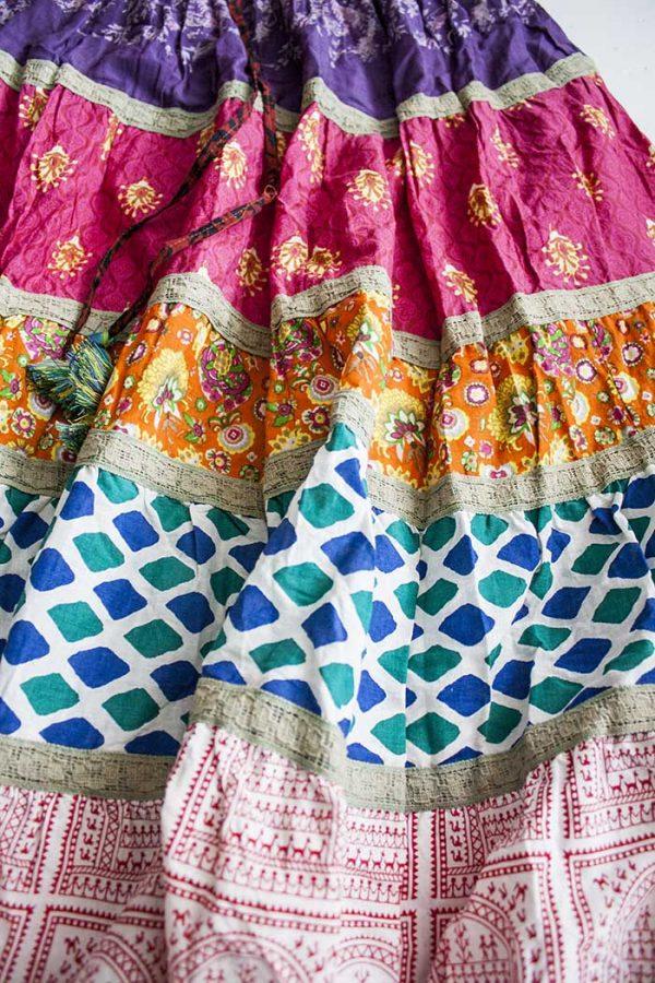 Gipsy multi fabric strokenrok roze paars oranje