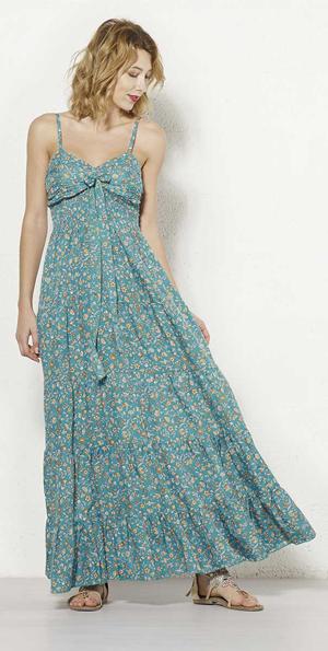 Lange Gypsy jurk turqoise groen met bloemetjes