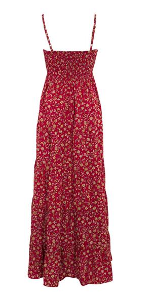 Lange boho jurk in diep rood met bloemetjes