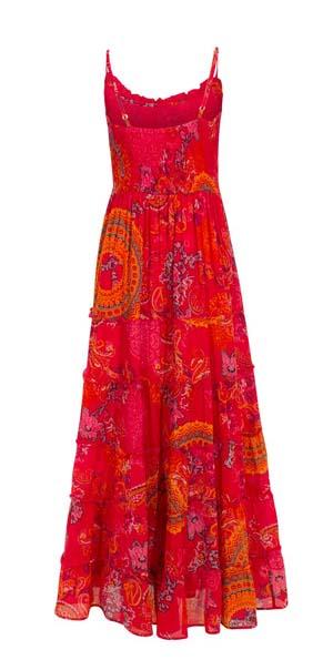 Lange maxi boho jurm met mandalas rood roze oranje