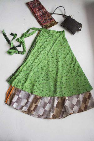 sari India gypsy wikkelrok groen en bruin