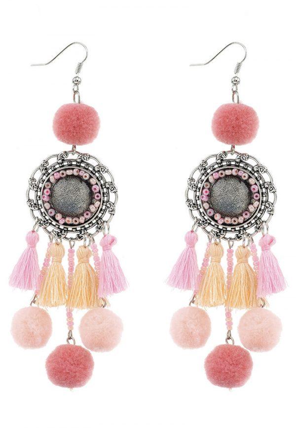 Boho gipsy oorbellen kwasten en pompoms roze