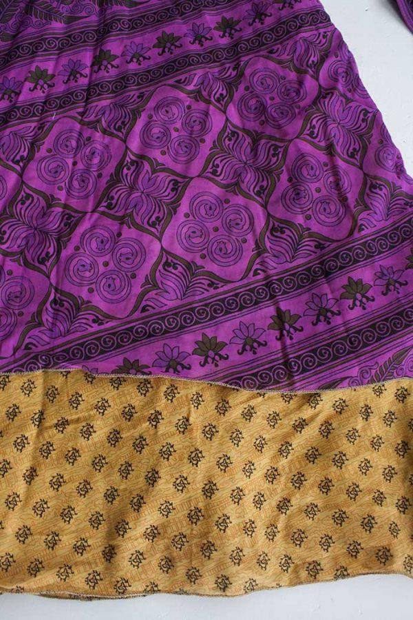 Gipsy ibiza boho sari wikkelrok fuchsiapaars met okerbruin