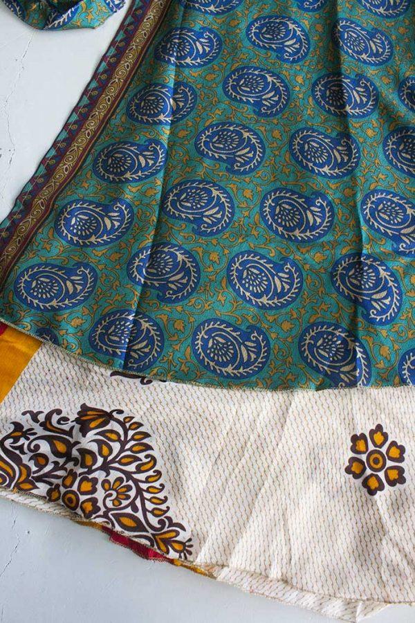 Gipsy ibiza boho sari wikkelrok petrol blauw en beige