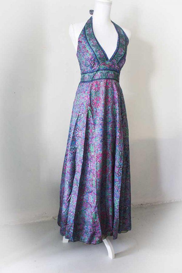 Gypsy lange jurk blauw roze halter model