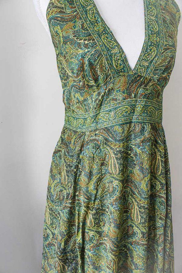 Gypsy lange jurk groen halter model