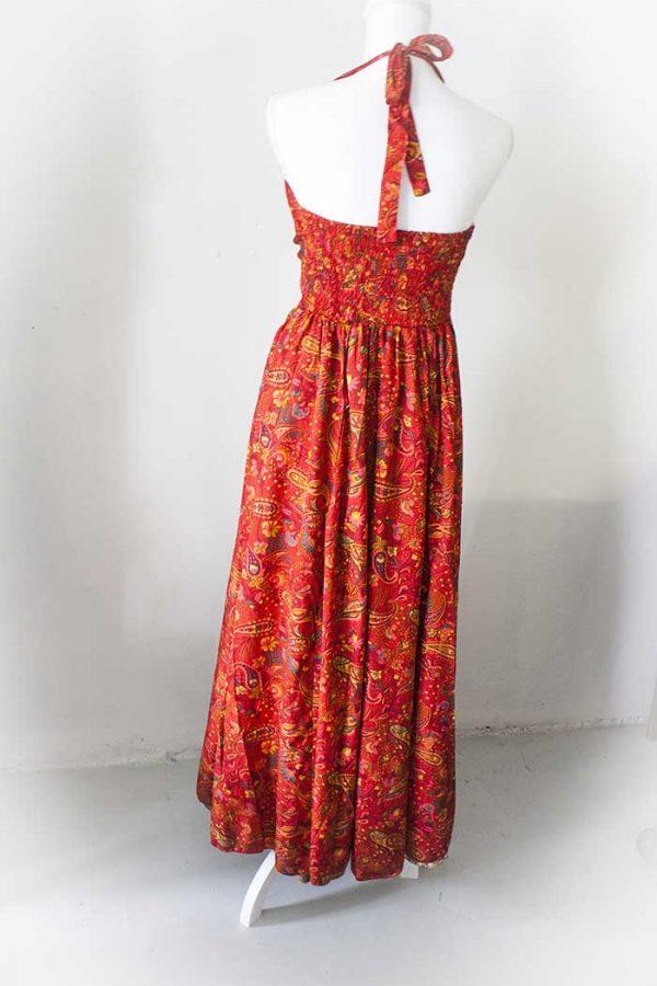 Gypsy lange jurk rood halter model