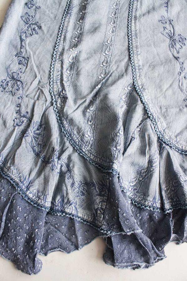 Jurkje zilverblauw embroidery XL
