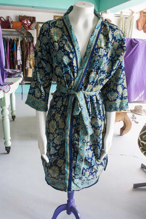 Kimono lang blauw chinees motief