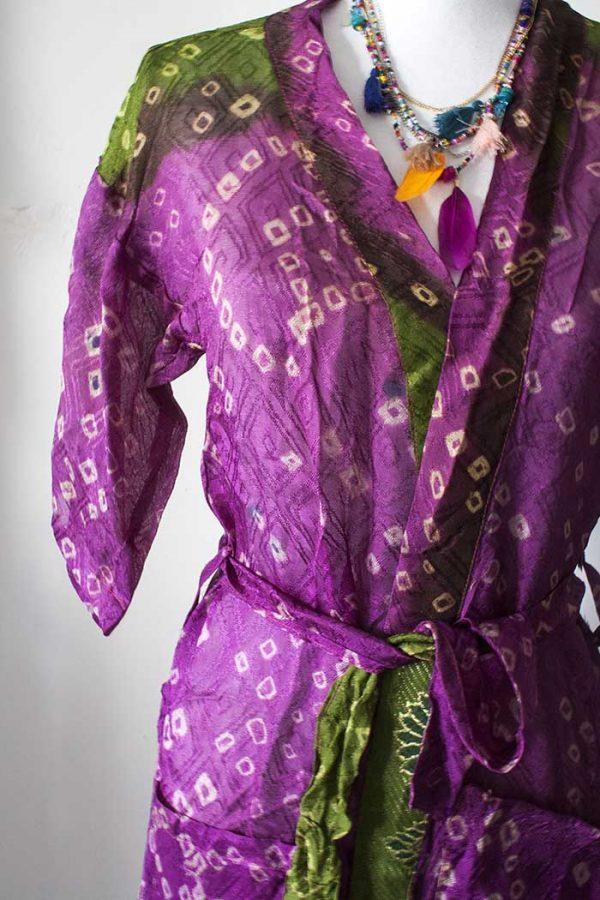 Kimono lang sari zijde fuchsiapaars met diep olijfgroen