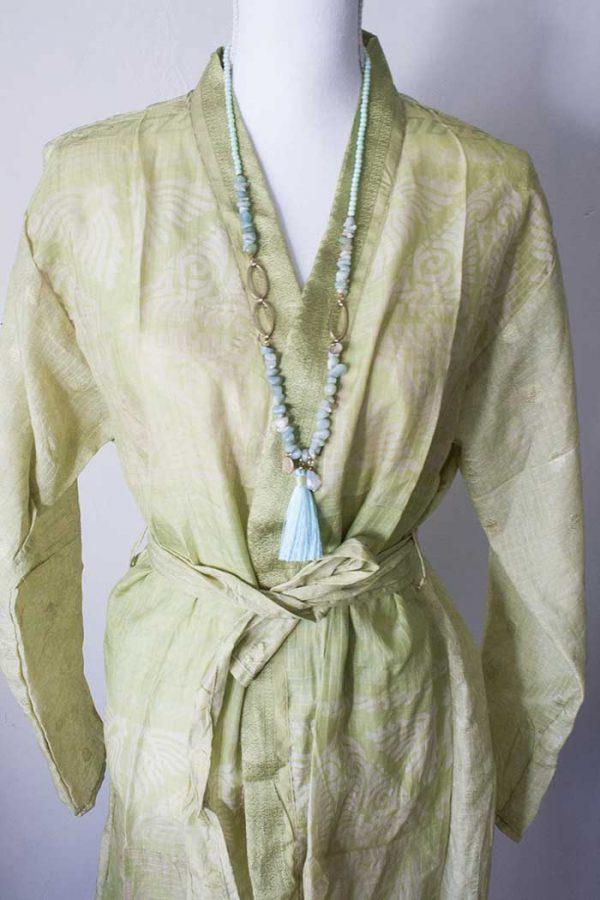 Kimono lang sari zijde groengeel
