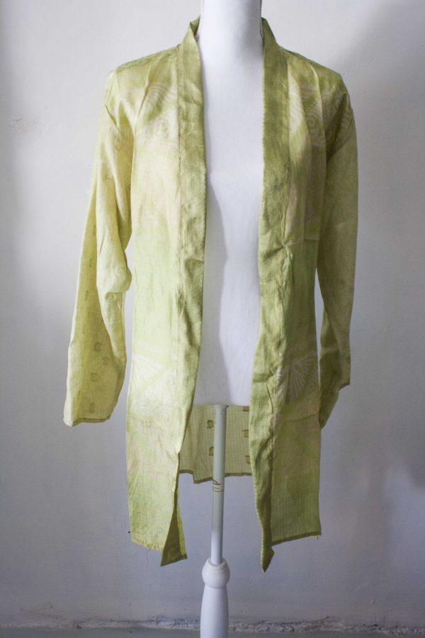 Kimono lang sari zijde groengeel scaled
