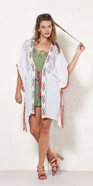 Kimono tuniek wit met borduursel in groen oranje
