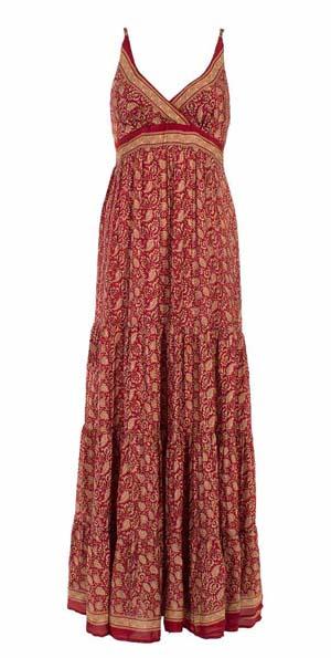 Lange gipsy jurk diep donkerrood met lichtbruine oosterse print
