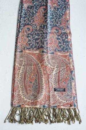 Pashmina sjaal met franjes donker turqoise blauw met zacht oranje