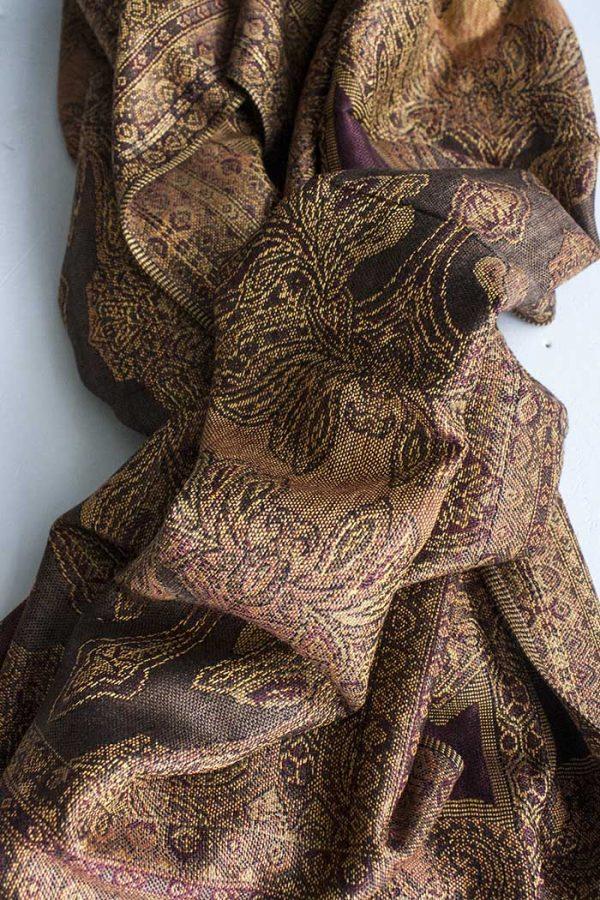 Pashmina sjaal met franjes goud beige bruin