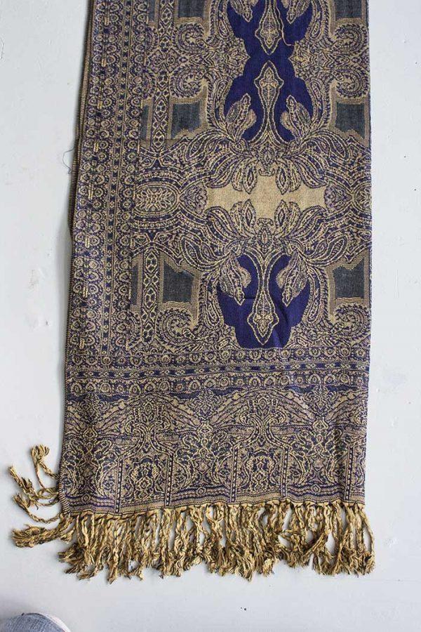 Pashmina sjaal met franjes goud blauw