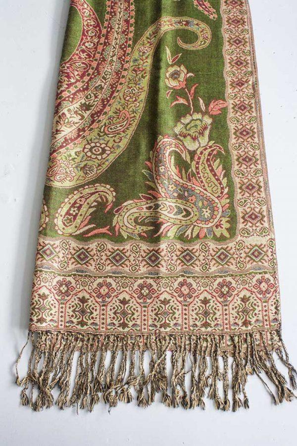 Pashmina sjaal met franjes olijgroen met oranje en beige
