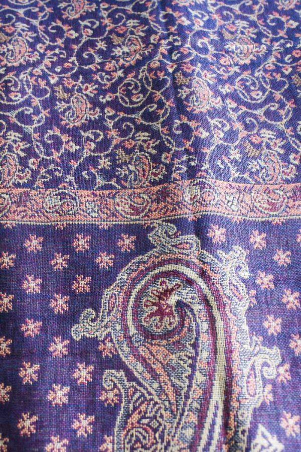 Pashmina sjaal met franjes paars met zalm