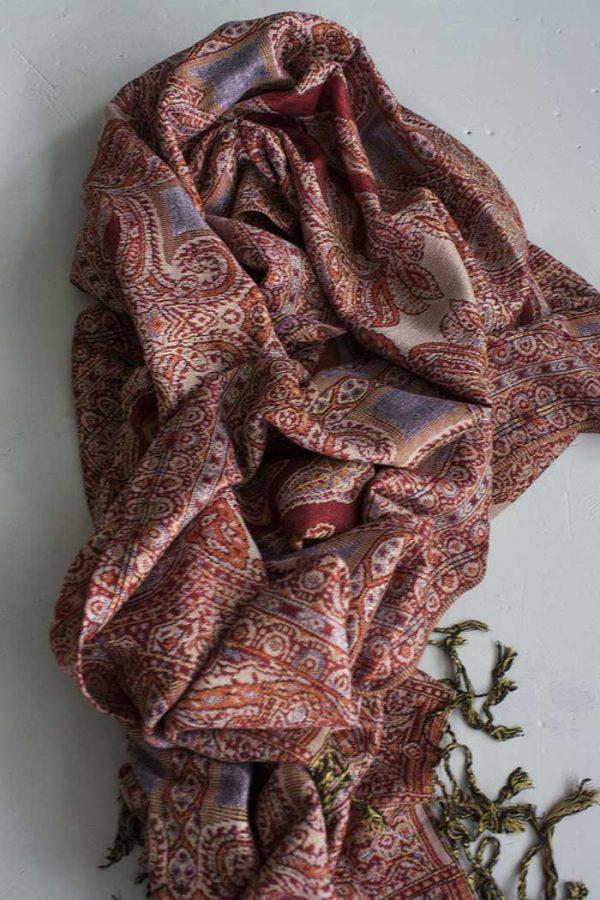 Pashmina sjaal met franjes terra beige oranje