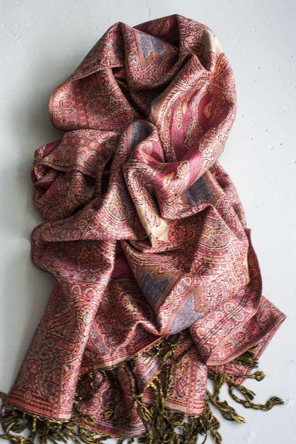 Pashmina sjaal met franjes zacht zalmoranje en zachtrood