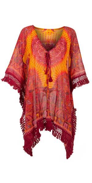 Poncho kimono bordeaux oranje roze met franjes