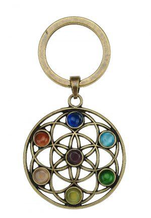 Sleutelhanger rainbow chakra seed of life brons