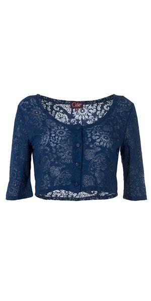 Vestje bolero van stof met geweven kantpatroon donkerblauw
