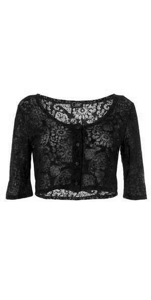 Vestje bolero van stof met geweven kantpatroon zwart