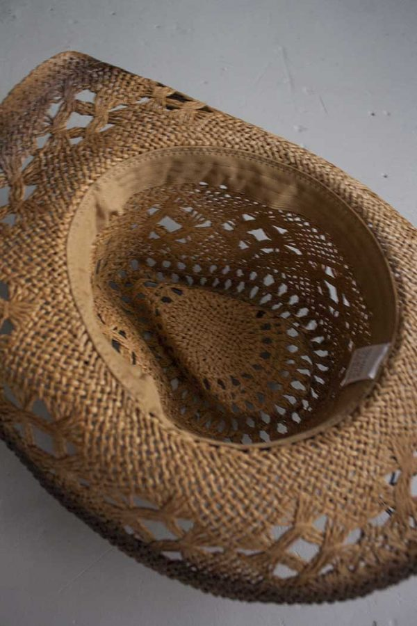 hoed boho cowboy stro bruin met kralen en steen